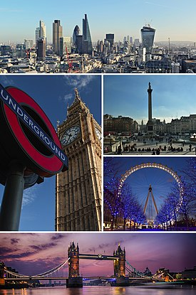 London montage. Clicking on an image in the picture causes the browser to load the appropriate article.
